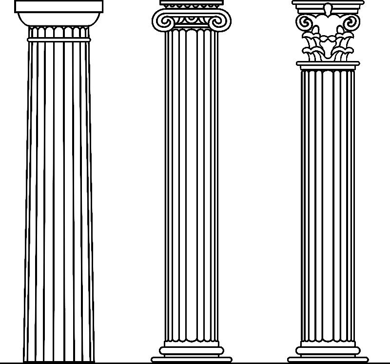 Dorisk, ionisk og korintisk søjle